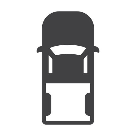 view from above: car black simple icon on white background for web design