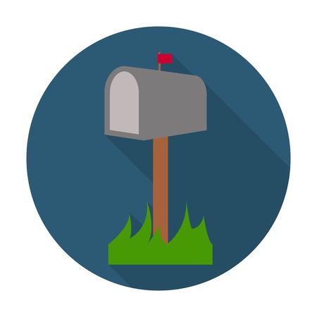 buzon: buzón icono plana con una larga sombra para el diseño web