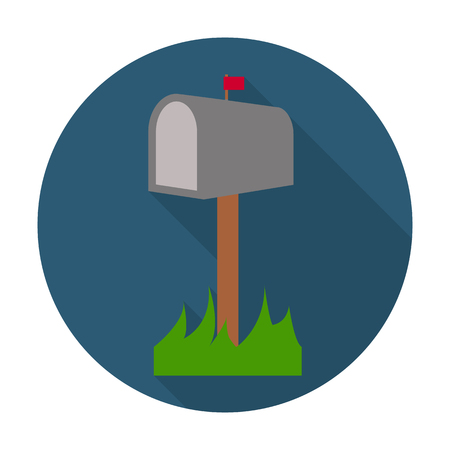 mailbox flat icon with long shadow for web design
