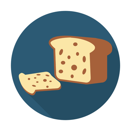 raisin: bread flat icon with long shadow for web design