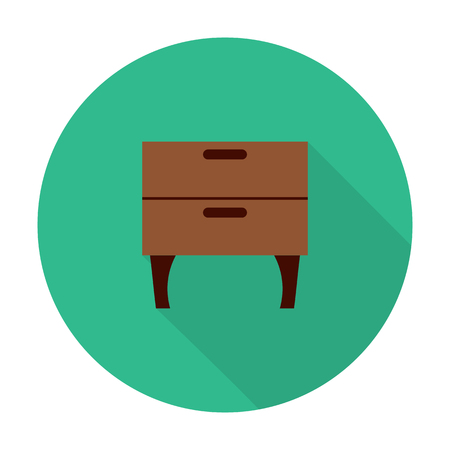 dresser: dresser flat icon with long shadow for web design