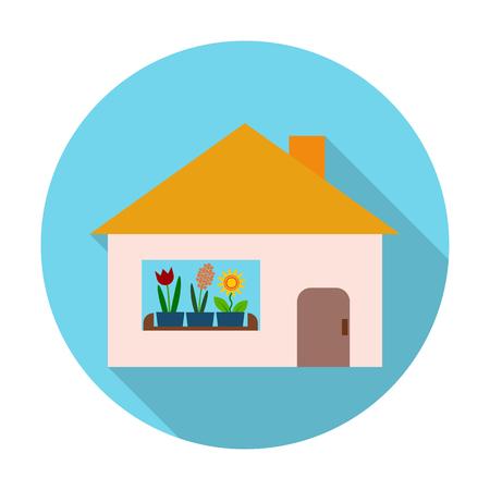 icono de la casa plana con una larga sombra para el diseño web
