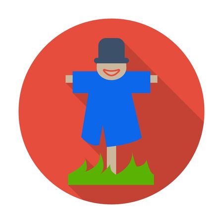 agricultura: scarecrow flat icon with long shadow for web design Illustration