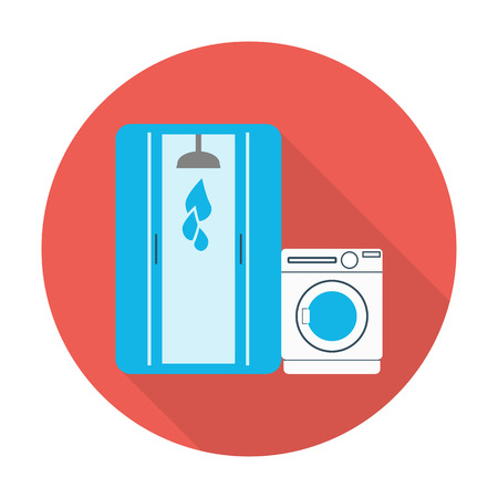 shower stall: shower stall, washing machine flat icon with long shadow for web design Illustration