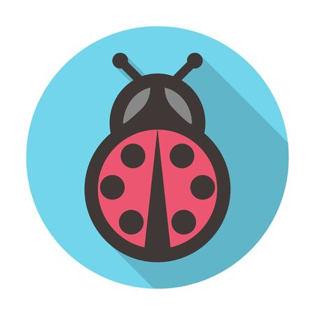 agricultura: ladybug flat icon with long shadow for web design