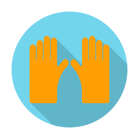 agricultura: gloves flat icon with long shadow for web design