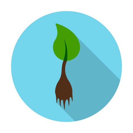 seedling: seedling flat icon with long shadow for web design