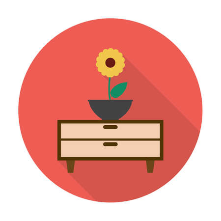 commode: commode,flower flat icon with long shadow for web design