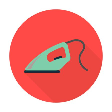 flat iron: iron flat icon with long shadow for web design