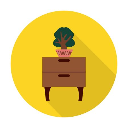 dresser: dresser,flower flat icon with long shadow for web design Illustration