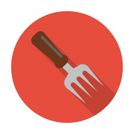 agricultura: rake flat icon with long shadow for web design Illustration