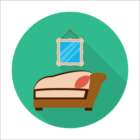 airbag: sofa, mirror flat icon with long shadow for web design