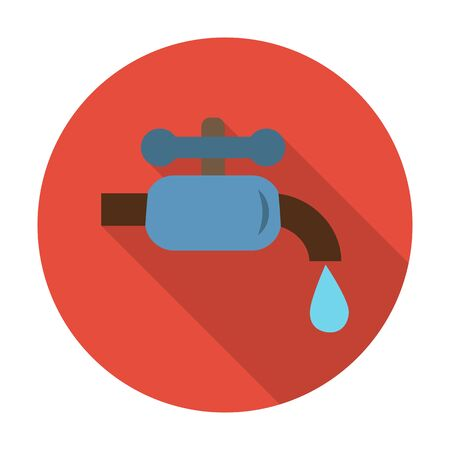 agricultura: water tap flat icon with long shadow for web design