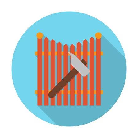 hammer: fence, hammer flat icon with long shadow for web design