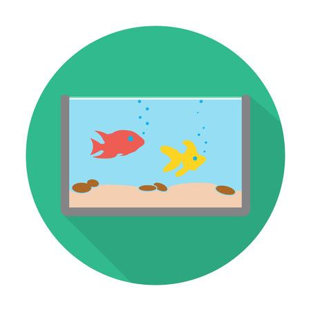 aquarium: aquarium flat icon with long shadow for web design