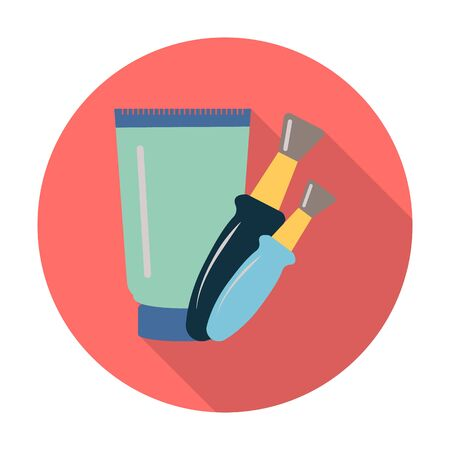 flat brushes: tube,brushes flat icon with long shadow for web design