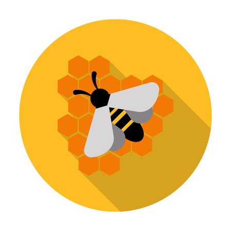 bees: bee, honey flat icon with long shadow for web design