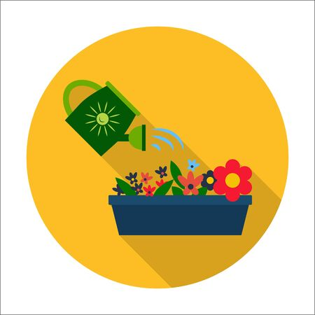 flowerbed: flowerbed,watering can flat icon with long shadow for web design