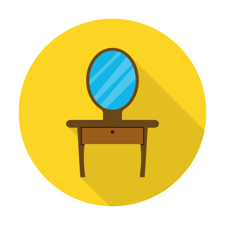dressing table: dressing table flat icon with long shadow for web design Illustration