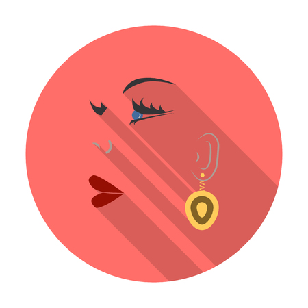 earring: earring,face flat icon with long shadow for web design