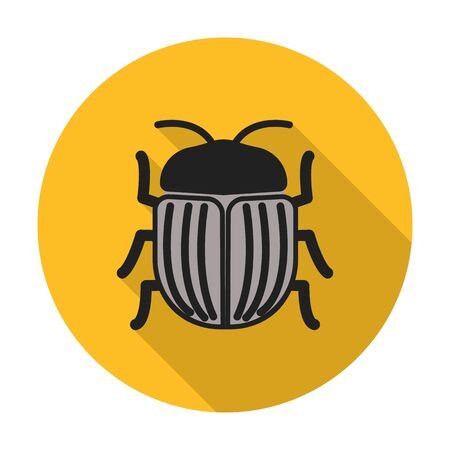 agricultura: beetle flat icon with long shadow for web design