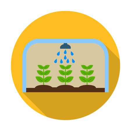 invernadero: de efecto invernadero icono plana con una larga sombra para el dise�o web