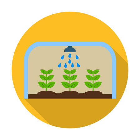 in the greenhouse: greenhouse flat icon with long shadow for web design