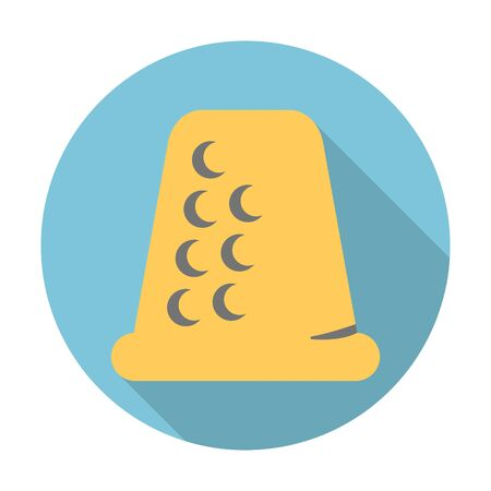 thimble: thimble flat icon with long shadow for web design