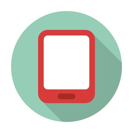 cellphone: cell phone flat icon with long shadow for web design