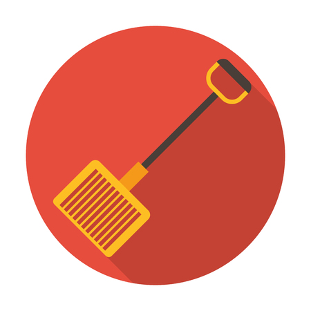 sifting: rake flat icon with long shadow for web design Illustration