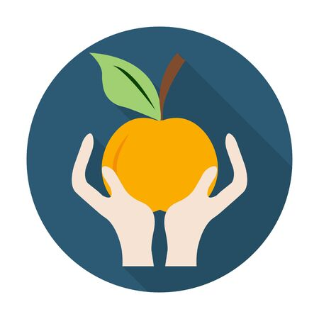 agricultura: hands, apple flat icon with long shadow for web design