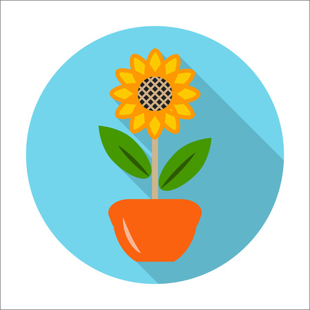 agricultura: flower flat icon with long shadow for web design Illustration