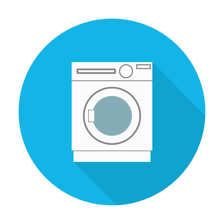 washer: washer flat icon with long shadow for web design