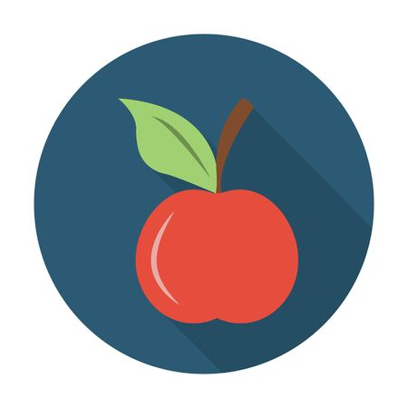 agricultura: apple flat icon with long shadow for web design