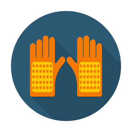 rubber gloves: gloves flat icon with long shadow for web design