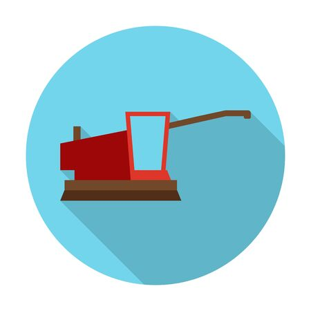 agricultura: harvester flat icon with long shadow for web design Illustration