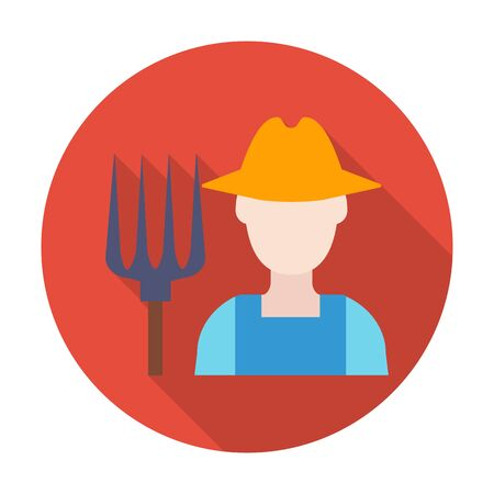 agricultura: farmer flat icon with long shadow for web design