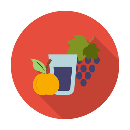 agricultura: apple, grape flat icon with long shadow for web design