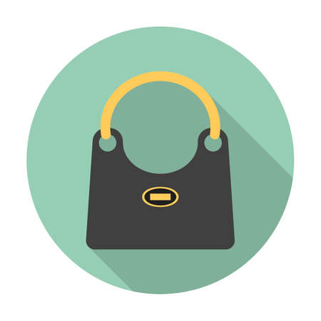 pouch: pouch flat icon with long shadow for web design
