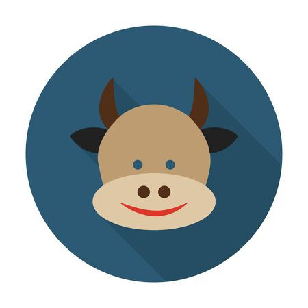 agricultura: cow flat icon with long shadow for web design