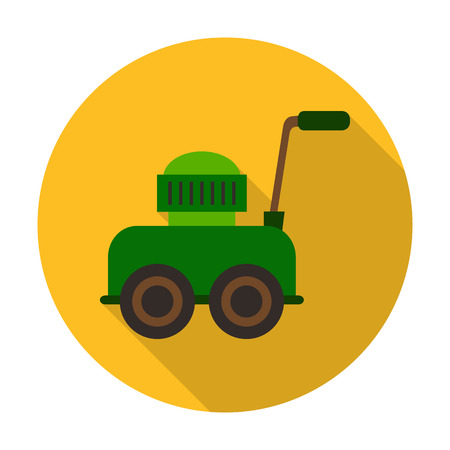 agricultura: lawnmower flat icon with long shadow for web design Illustration