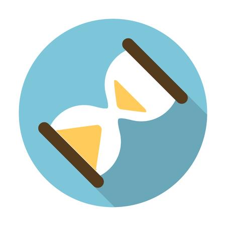 reloj de arena: icono de reloj de arena plana con una larga sombra para el diseño web Vectores