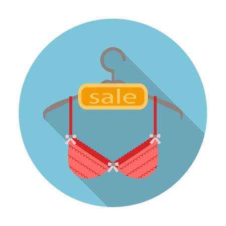 brassiere flat icon with long shadow for web design Vetores