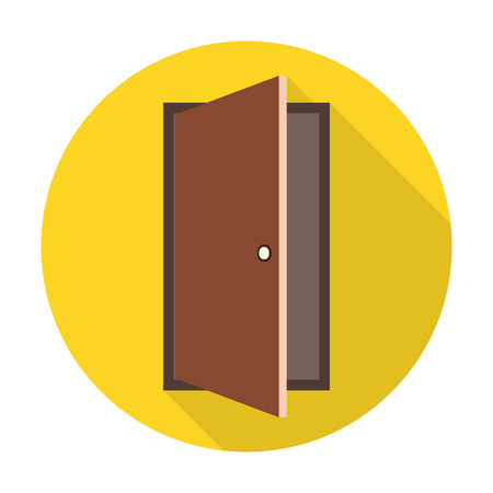 metal doors: Door flat icon with long shadow for web design Illustration