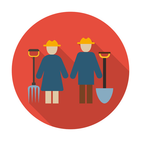 agricultura: farmers flat icon with long shadow for web design