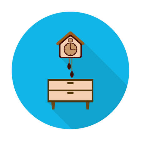 bedside: bedside, clock flat icon with long shadow for web design