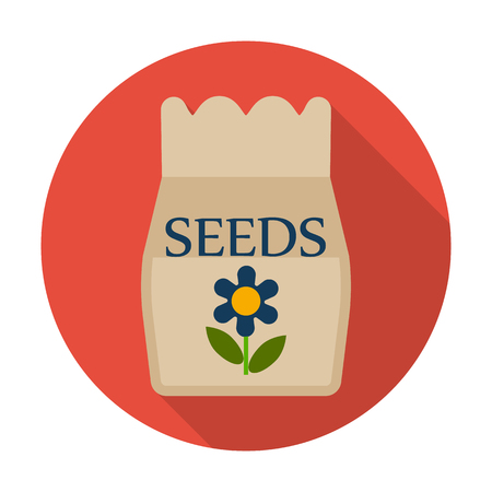 agricultura: seeds flat icon with long shadow for web design