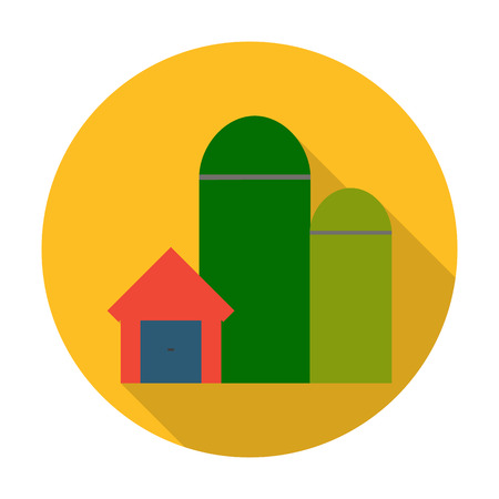 agricultura: grain elevators flat icon with long shadow for web design Illustration