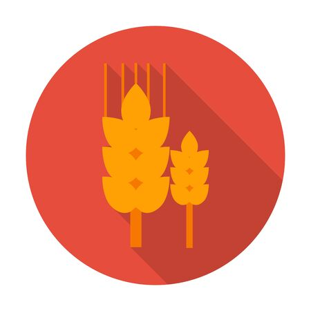 agricultura: ears flat icon with long shadow for web design