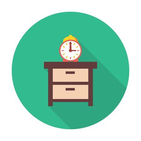 dresser: dresser,alarm clock flat icon with long shadow for web design